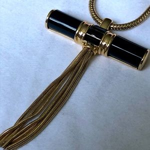 Long gold black cross pendant necklace